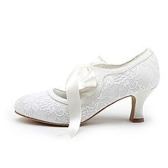 Top Quality Satin Upper High Heel Closed-toes With Ribbon Tie Wedding Bridal Shoes - USD $ 40.49