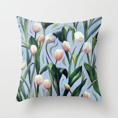 Waiting on the Blooming - a Tulip Pattern Throw Pillow by Micklyn