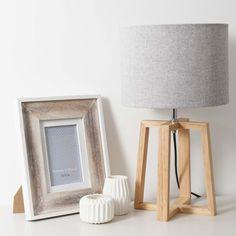 Lampe en bois et tissu gris H 44 cm ...