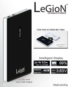 Legion - The world's most intelligent battery for all of your electronic devices.
