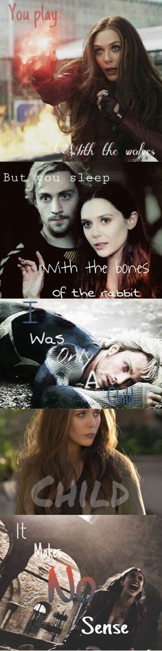"#WandaMaximoff .Song: Bones of the Rabbit by Young Heretics. My edit, plz don't take credit! (Her name was Wanda Maximoff. She was only a child when she lost all she loved, yet SHE KEPT FIGHTING. Her pain only made her stronger, every step of the way.  ""She's a kid, Tony!"""