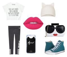 """""""friend time"""" by maia-paulisich on Polyvore featuring Topshop, Converse, Kate Spade, Lime Crime and Alice + Olivia"""
