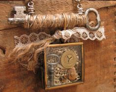 SALE - Upcycled Mixed Media Assemblage - Shadow Box Necklace - Skeleton Key, New York Subway Token, Lace, Pearls, Pin - Neutral Tones