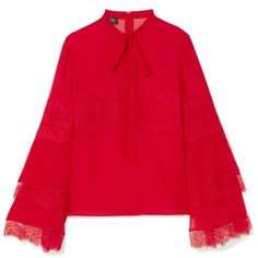 Giambattista ValliPussy-bow Lace-trimmed Silk-chiffon Blouse (5.635 RON) ❤ liked on Polyvore featuring tops, blouses, red, sleeve top, lace trim blouse, bow blouse, red tie blouse and flared sleeve blouse