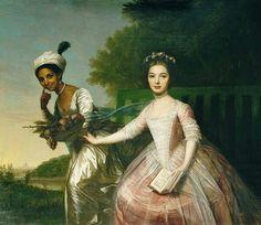 Portrait de Dido Élisabeth Belle et sa cousine Élisabeth Murray, avec un livre, par Johann Zoffany