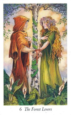 "Every time I try to tell myself ""NO MORE TAROT DECKS"" I see a new deck that calls to me. The call of The Wildwood Tarot was loud and insi. Tarot Card Decks, Tarot Cards, Tarot Celta, Wildwood Tarot, The Lovers Tarot Card, Tarot Major Arcana, Angel Cards, Beltane, Handfasting"