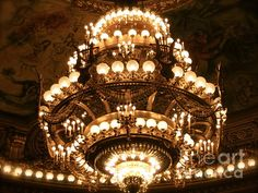 Beautiful print of the Paris Opera house grand chandelier made famous by Phamtom of the Opera. Found on fineartamerica.com