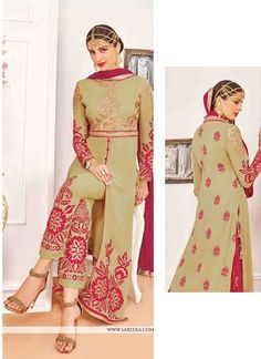 Be an angel and create and establish a smashing influence on any person by carrying this beige georgette designer suit. Look ravishing clad in this attire which is enhanced embroidered and resham work...