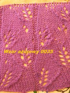 Wzór ażurowy 0035*Robótki  na drutach *Dzierganie*wzory na drutach*Tutorial