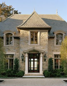 Douglas VanderHorn Architects | Waterfront French Normandy Style | Entry Facade