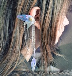 Items similar to Enchanted Fairy Ear Cuff Ornate Filigree with Chains and Vintage Sequins Non pierced No pierce on Etsy Cosplay, Elfen Fantasy, Enchanted Fairies, Elf Ears, Fantasy Costumes, Fantasy Jewelry, Larp, Bling Bling, Gypsy