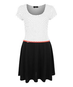 Another great find on #zulily! Black & Ivory Polka Dot Belted Skater Dress by Dex #zulilyfinds