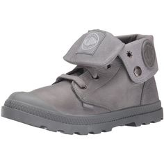 Palladium Women's Baggy Lea Low LP Combat Boot ($40) ❤ liked on Polyvore featuring shoes, boots, ankle booties, leather hiking boots, leather military boots, palladium boots, high low tops and fold over booties
