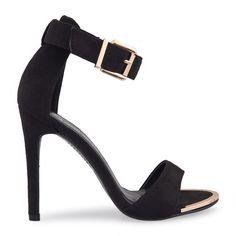 Black Suede Front Gold Clip Sandal - Sandals   YDE Black Heels, Black Suede, High Heels, South African Fashion, Suede Sandals, Toe Shape, Sale Items, Open Toe, Stiletto Heels