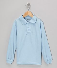 Take a look at this Light Blue Long-Sleeve Polo - Boys by Genuine School Uniform on #zulily today!