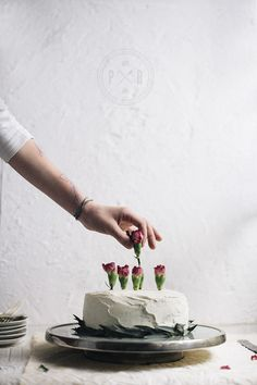 cake decorated with carnations