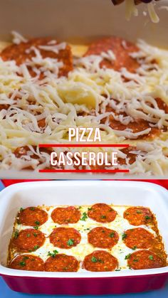 Easy Keto Low-Carb Pizza Casserole is a quick healthy recipe perfect for meal prep. This dish is baked with cream cheese, pepperoni, and ground beef, a great crustless pizza substitute. #Keto #KetoPizza #KetoPizzaCasserole