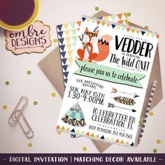 Invite guests to your Wild Ones First Birthday Party with this cute Tribal Animal Invitation! Your Wild One Invitation will be customized with your party details; you print as many as you need! Includes a Reverse Side. Size + Rush Options available during checkout! ➼ YOU WILL RECEIVE: - (1) Wild One Invitation + (1) Reverse Side both in 300dpi .JPG *Digital File only. No physical Items are included in this listing. Envelope not included. ➼ HOW THIS WORKS: · Place this listing + any Tribal…