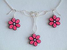 Flower Earring and Pendant Set