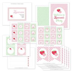Strawberry Party Printable Collection from The TomKat Studio shop www.shoptomkat.com