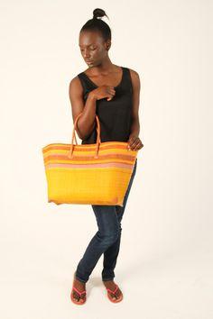 Half Yellow Woven Multicolored Bag