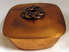 C.1905 | Marie Zimmermann Hammered Copper Covered Box adorned with four entwined serpents | Arts and Crafts