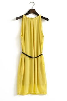 Yellow Halt Top chiffon dress