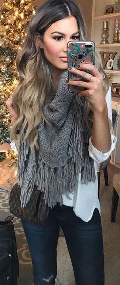 #winter #fashion /  Grey Fringe Scarf / White Blouse / Navy Skinny Jeans