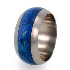 Titanium Ring Blue Box Elder Burl Wood Band Ring by jewelrybyjohan, $209.00