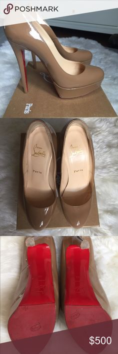 Christian Louboutin Bianca - Patent Calf Camel Excellent Condition.  Purchased from Neiman Marcus for $845. I wore these once and then I had a cute little baby.  The end. Please let me know if you would like additional pics.  No trades but I will accept offers.  Thanks! Christian Louboutin Shoes Heels