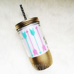 Gold glitter dipped - 24 oz Mason jar tumbler with lid+reusable straw-personalized/customized - gift- party cup - bachelorette-birthday gift by JarsOfGold on Etsy https://www.etsy.com/listing/221876845/gold-glitter-dipped-24-oz-mason-jar