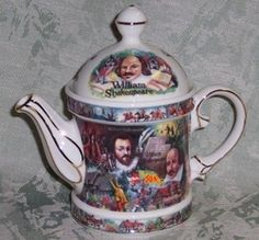 James Sadler, famous producer of fine earthenware collectible teapots, presents this regency shaped teapot with a Shakespearean theme.  This is from the Sadler line of author inspired teapots, and the colors are stunning.  It has a 2 cup capacity, features gold trim, and comes packaged in a gift box.  6