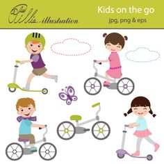 This cute Kids on the go clipart set comes with 8 cliparts featuring 4 kids riding scooters and bicycles, butterfly and 2 clouds.