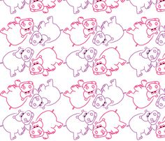 Pink and Purple Hippos fabric by coveredbydesign on Spoonflower - custom fabric
