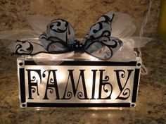 Personalized lighted glass block decor NO DIY. For purchase only, but I could use this idea to make my own. would also be nice to use last name and use in front of the house. Vinyl Crafts, Vinyl Projects, Craft Projects, Craft Ideas, Wood Crafts, Diy Ideas, Decorating Ideas, Decorative Glass Blocks, Lighted Glass Blocks