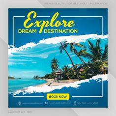 Instagram feed post travel template prem... | Premium Vector #Freepik #vector #banner #sale #travel #summer