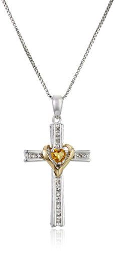 """Sterling Silver and 14k Gold Cross Pendant Necklace, 18"""" >>> Check this awesome product by going to the link at the image."""