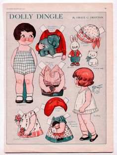 Vintage Dolly Dingle Muñecas de papel 06 1930 Uncut Brother Sister Gracia Drayton | eBay