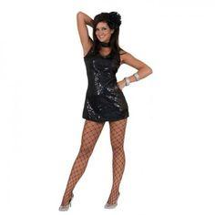 sexy Damen Disco Kostüm schwarz Fasching Karnevalskostüm
