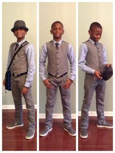 Boys fashion fedora vest tie pinstripe dress shirt gray jeans vans school clothes tween dressy ootd young man