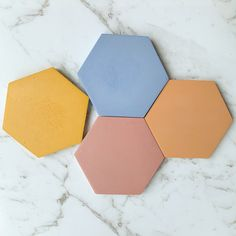 Colourful Hex Concrete Coasters - Ocean Blue, Dusty Pink, Yellow & Peach - Set (x Mellow Yellow, Pink Yellow, Blue, Ring Displays, Color Ring, Colour, Jewelry Dish, Engagement Gifts, Coaster Set
