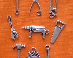Tools Charm Collection Antique Silver Tone 9 Different Hardware Charms - COL041