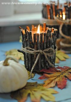 How to Make Rustic Twig Candles - - Personalize store-bought candles by turning them into rustic twig candles using fallen branches in your yard. A quick, easy project with plenty of appeal! Twig Crafts, Rustic Crafts, Country Crafts, Nature Crafts, Craft Stick Crafts, Fall Crafts, Home Crafts, Primitive Crafts, Vintage Crafts