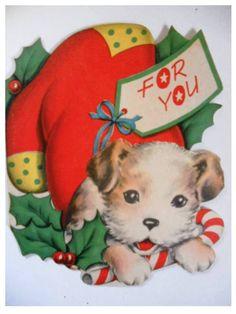 Vintage Norcross Greeting Christmas BIG For You Card Dog play Cane Candy Christmas Card Images, Merry Christmas Greetings, Vintage Christmas Images, Retro Christmas, Christmas Dog, Diy Christmas Ornaments, Christmas Greeting Cards, Christmas Pictures, Homemade Christmas