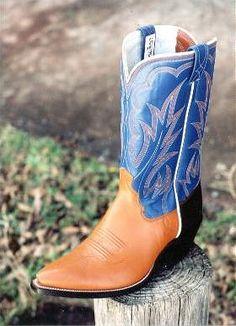 Cognac Kangaroo Foot W/ Blue Top  Tex Robin Boots