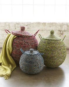 """Three Lidded African Baskets at Horchow. $795 (Click Tock $397) Small, 13""""Dia x 14""""T; Medium, 17""""Dia. x 23""""T; Large, 21""""Dia. x 27""""T. Handwoven in the West African Republic of Senegal."""