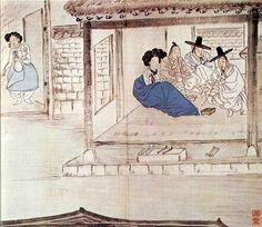 Korean Traditional art by Shin Yun-bok Korean Painting, Japanese Painting, Korean Traditional, Traditional Art, Asian Artwork, Comic Pictures, Korean Art, China Painting, Traditional Paintings