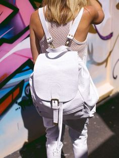 White Leather bagpack !