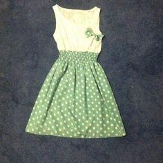 Mint green polkadot skirt lace white top dress Nwot Skirts