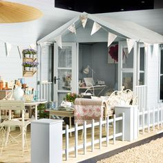 Summer House/super-duper shed idea. Outdoor Living Areas, Outdoor Spaces, Beach Hut Shed, Beach Huts, Buy Shed, Craft Shed, Decking Area, Outdoor Decking, Estilo Shabby Chic